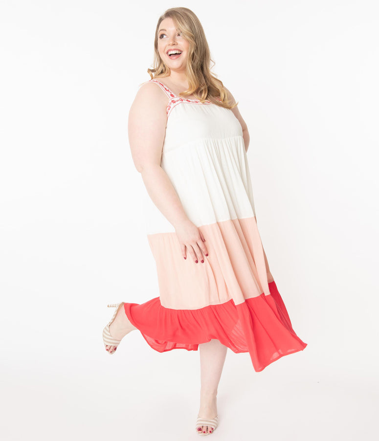 Plus Size Off White & Coral Tiered Coloblock Maxi Dress