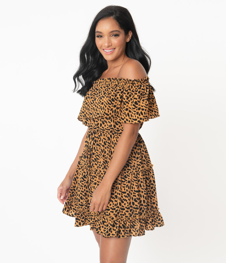 Leopard Print Off Shoulder Fit & Flare Dress