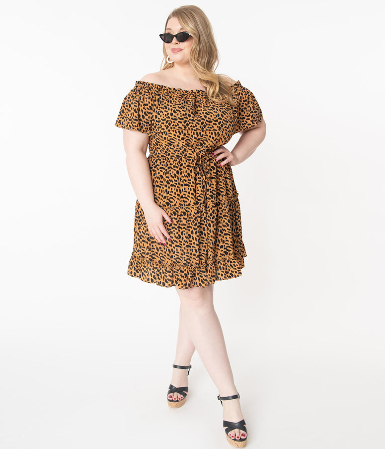 Plus Size Leopard Print Off Shoulder Fit & Flare Dress