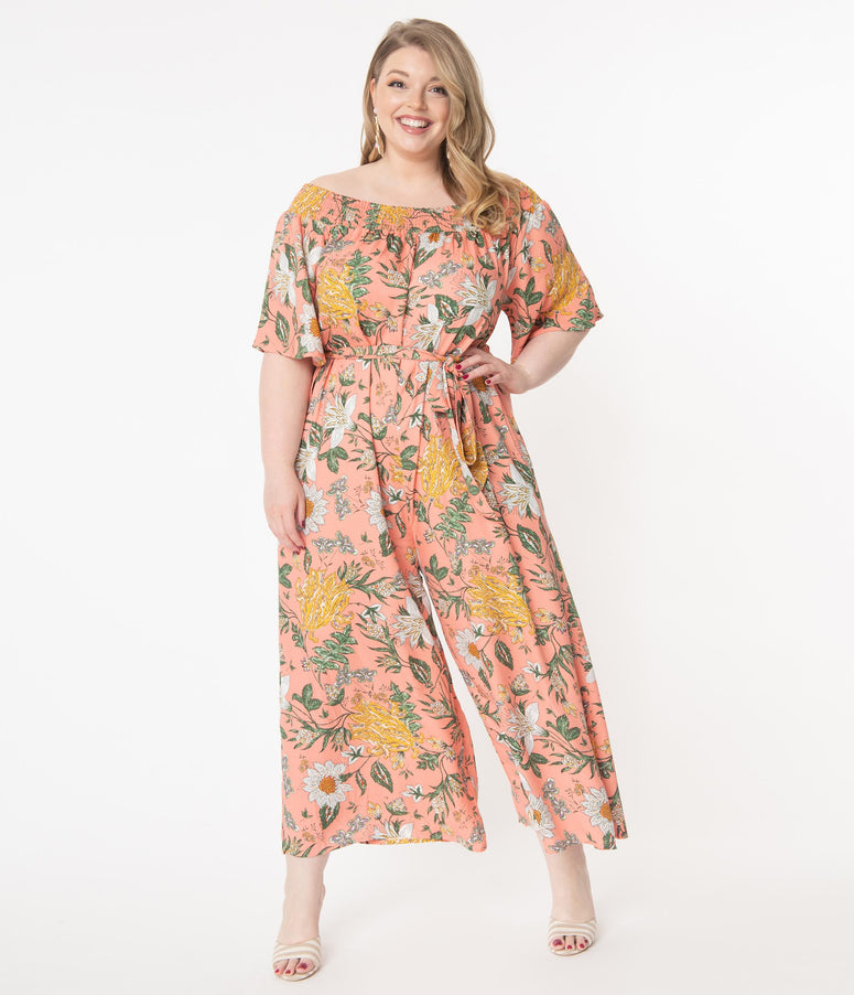 Plus Size Hot Coral & Multi Floral Jumpsuit