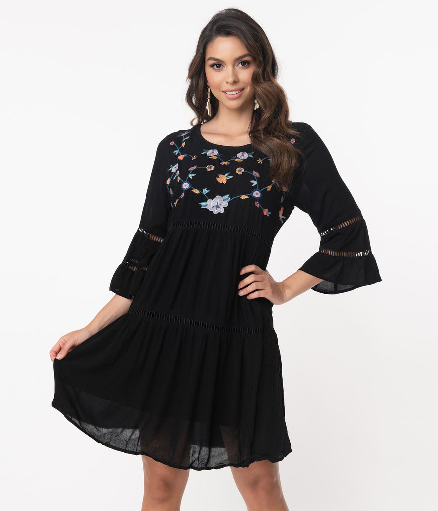 Retro Style Black Embroidered Casual Dress