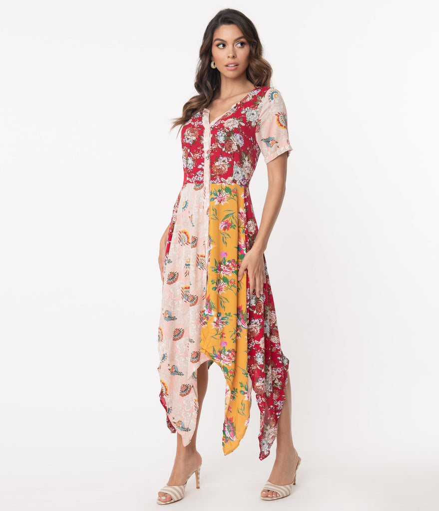 Multicolor Floral Colorblock Handkerchief Dress