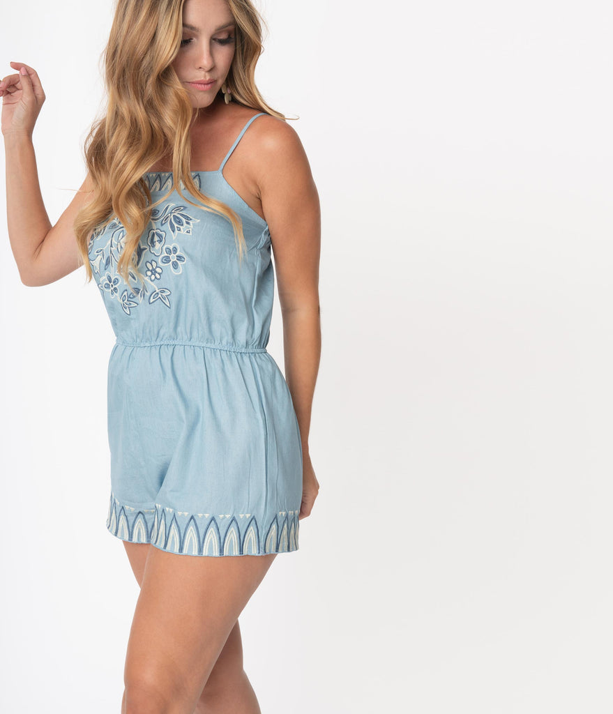 Light Blue Embroidered Floral Romper