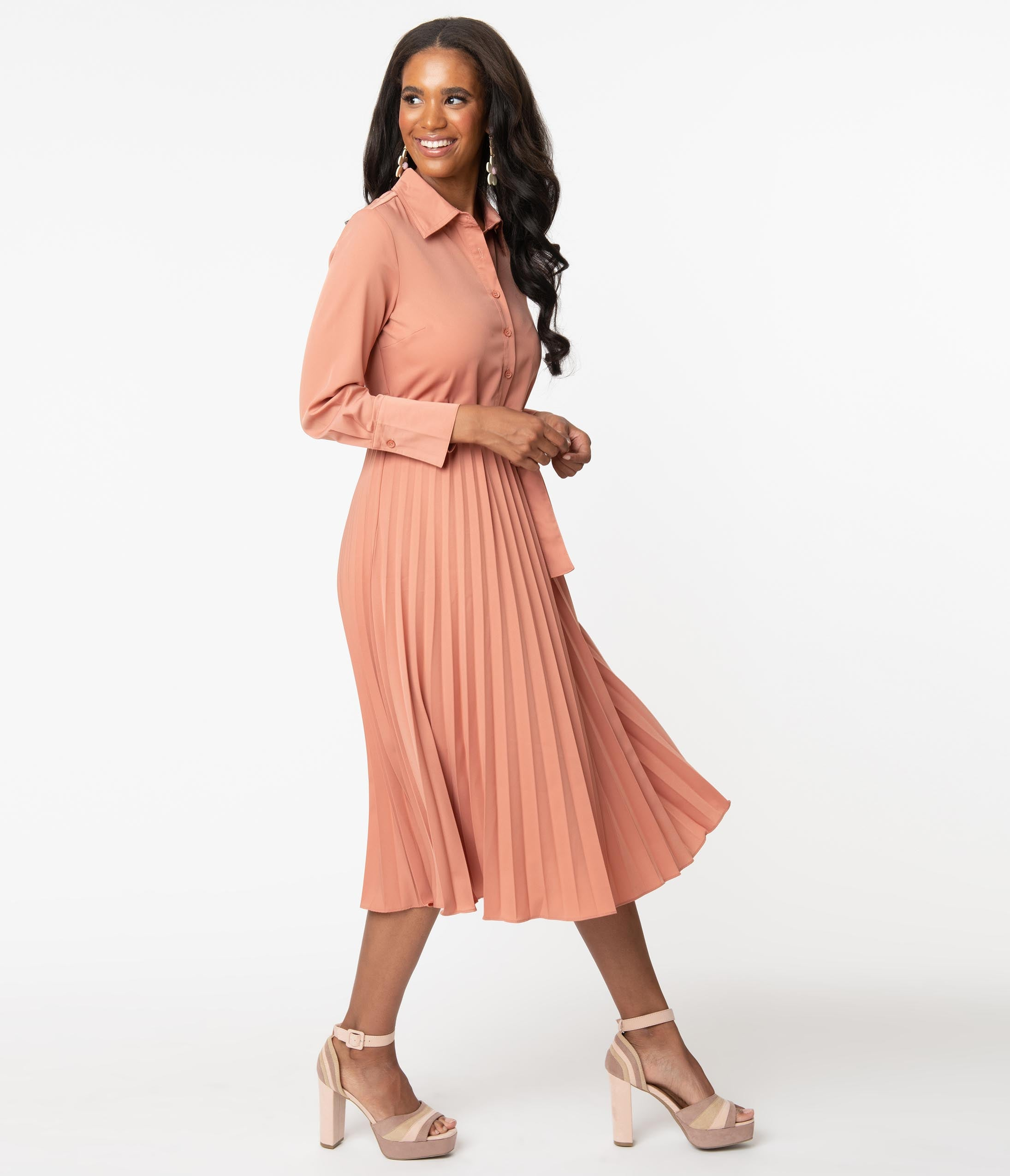 Swing Dance Clothing You Can Dance In 1940S Style Dusty Rose Pleated Midi Dress $68.00 AT vintagedancer.com
