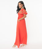 1970s Tomato Red Off Shoulder Maxi Dress