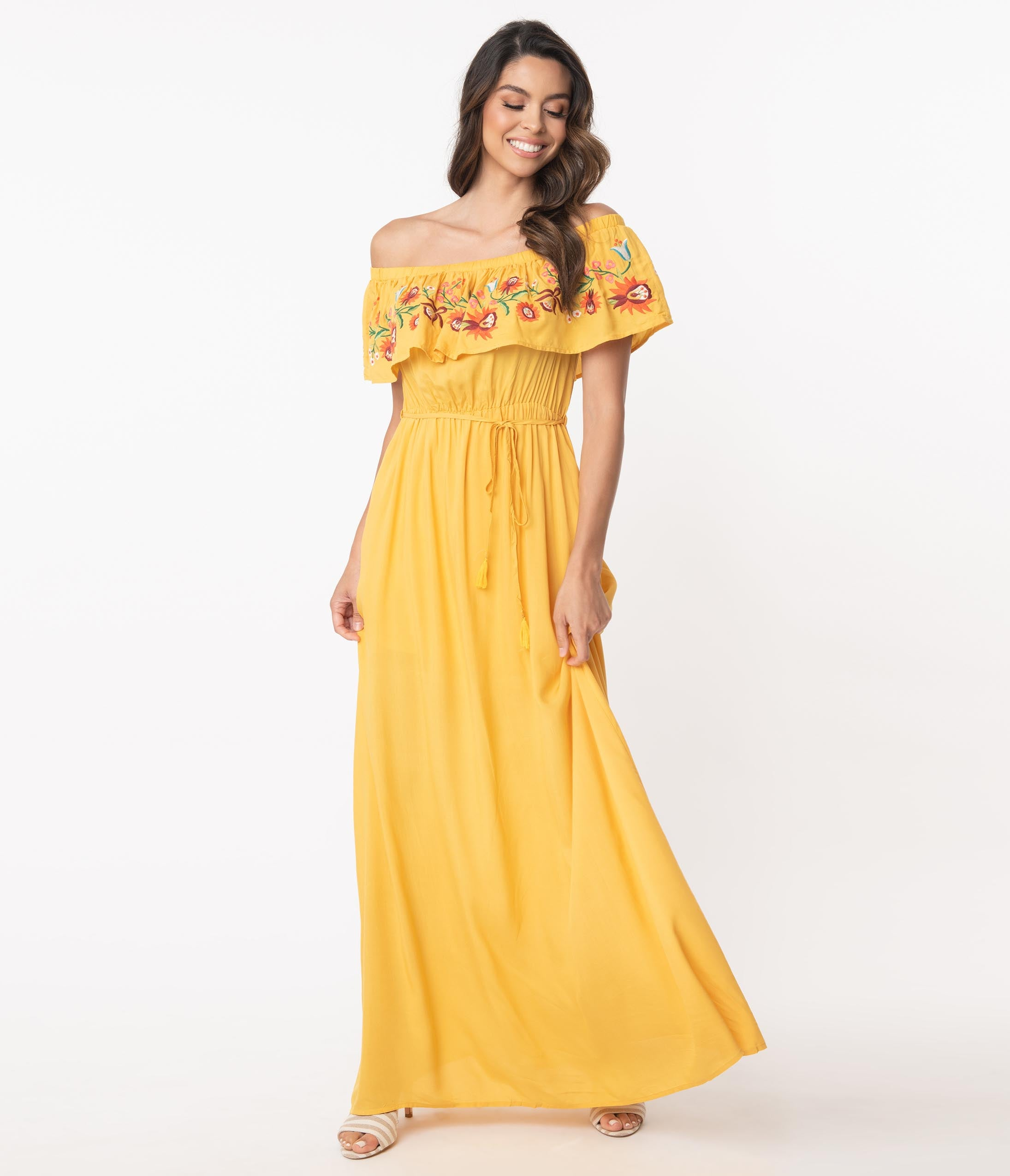 Modest, Mature, Mrs. Vintage Dresses – 20s, 30s, 40s, 50s, 60s 1970S Honey Mustard Off Shoulder Maxi Dress $68.00 AT vintagedancer.com