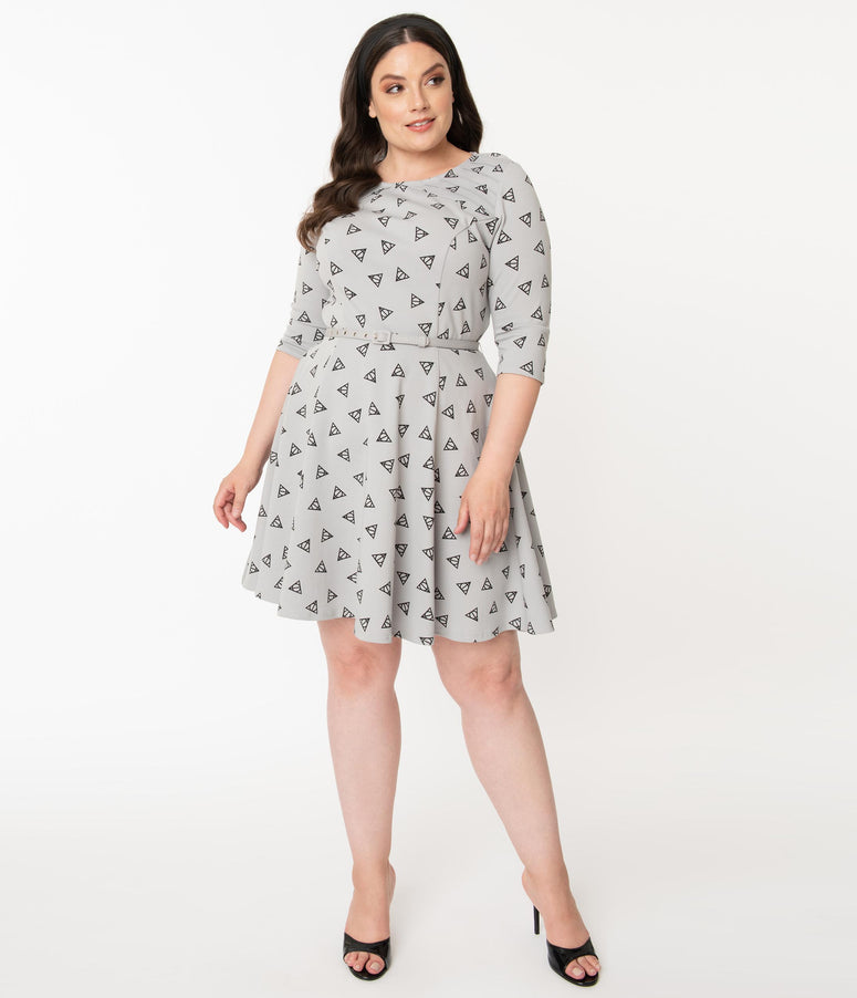 Harry Potter x Unique Vintage Plus Size Deathly Hallows Stephanie Fit & Flare Dress