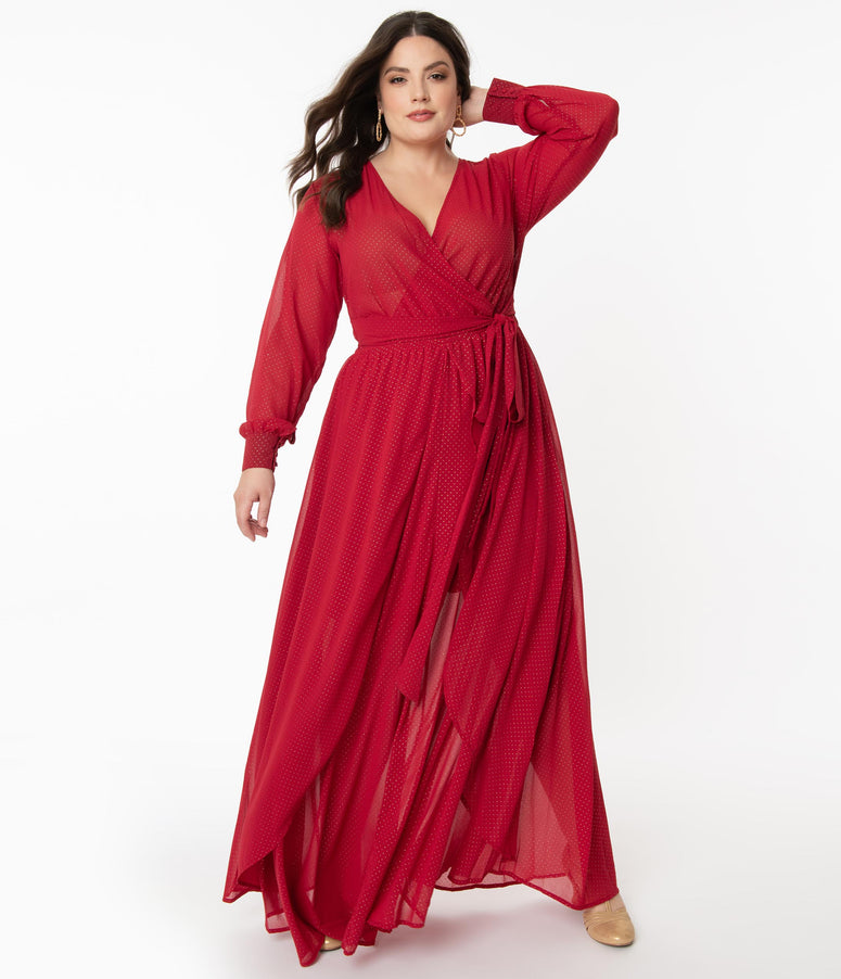Unique Vintage Plus Size Red & Gold Dot Farrah Maxi Dress