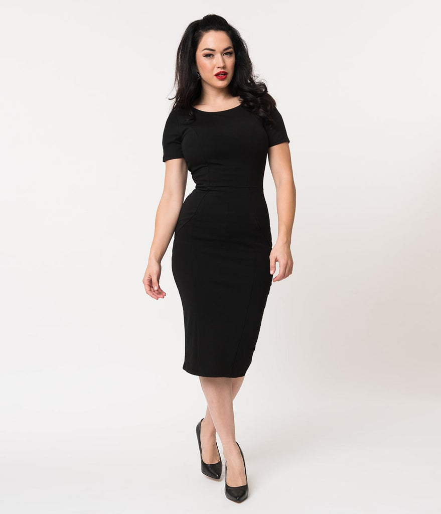 Unique Vintage 1960s Style Black Short Sleeve Stretch Mod Wiggle Dress