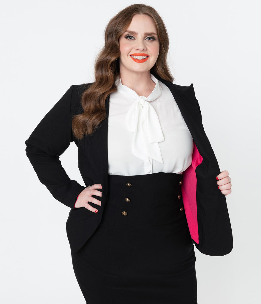 Unique Vintage Plus Size Black Jagger Suit Jacket