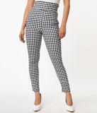 Unique Vintage Navy & White Gingham Rizzo Cigarette Pants