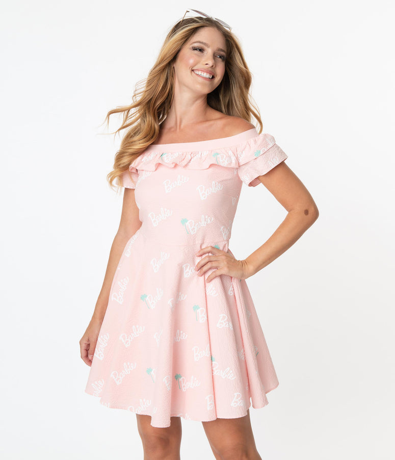 Stitch Shoppe By Loungefly Barbie Logo Lizzy Date Night Dress