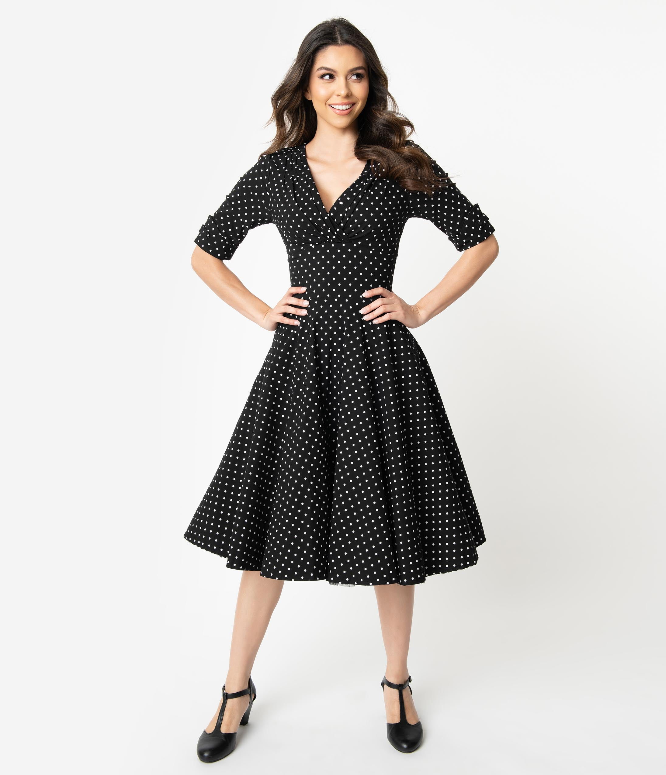500 Vintage Style Dresses for Sale | Vintage Inspired Dresses Unique Vintage 1950S Black  White Dot Delores Swing Dress With Sleeves $92.00 AT vintagedancer.com