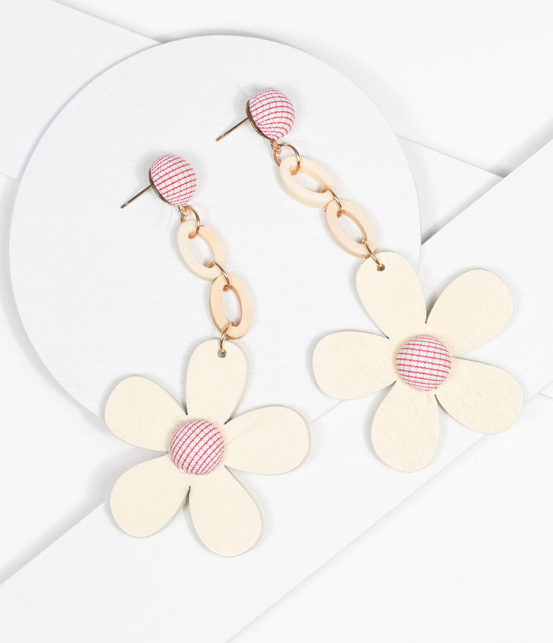 Cream & Pink Wooden Flower Drop Earrings
