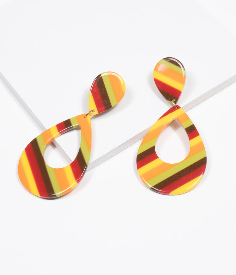 Retro Style Multicolor Stripe Teardrop Earrings