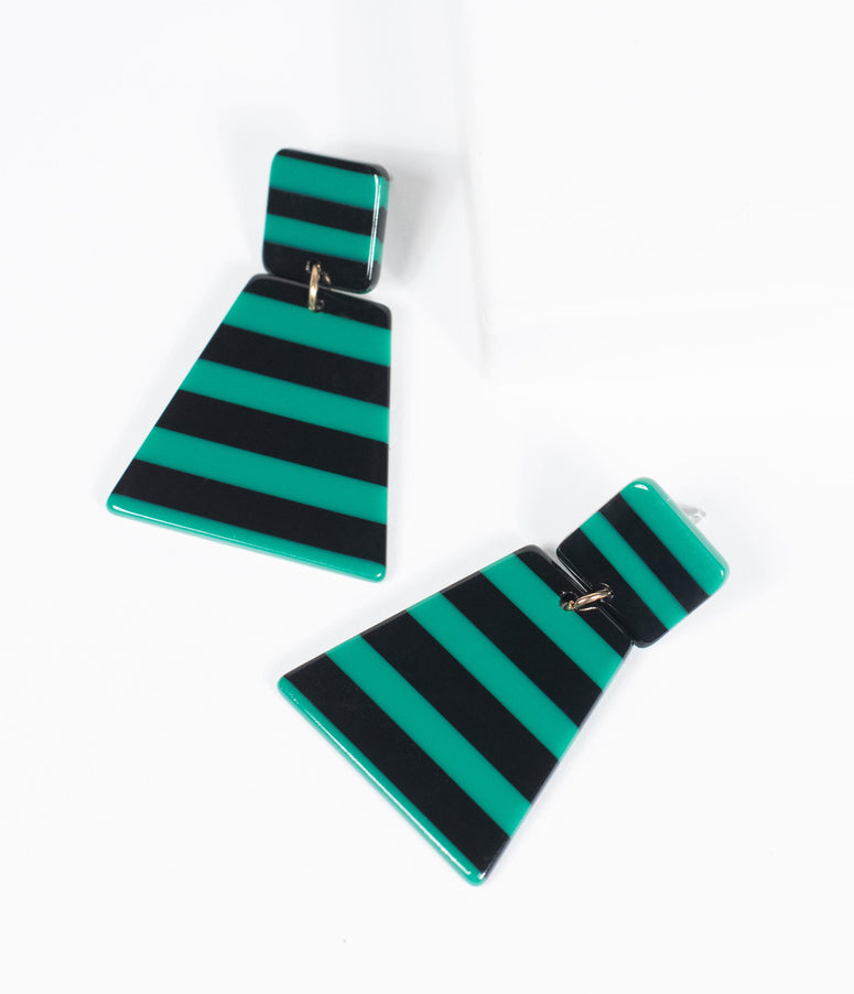 Black & Green Stripe Resin Drop Earring