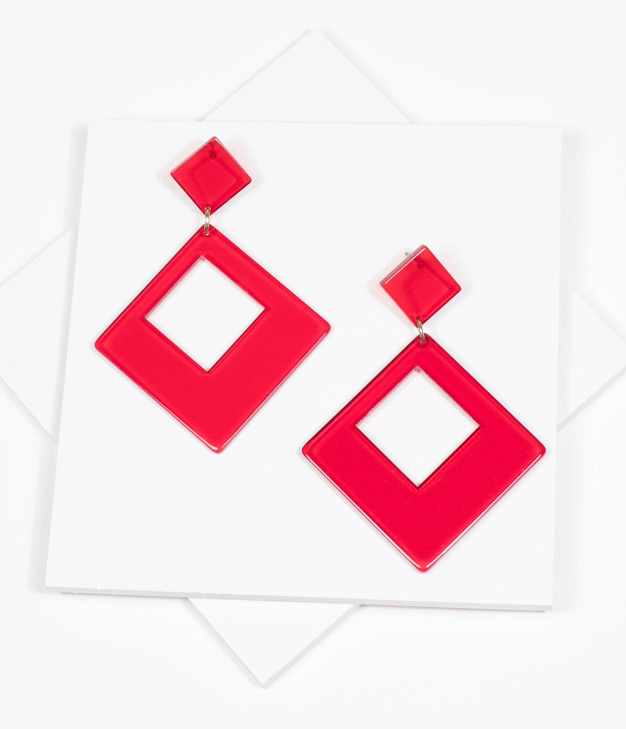 60s -70s Jewelry – Necklaces, Earrings, Rings, Bracelets Retro Style Red Square Resin Drop Earrings $26.00 AT vintagedancer.com