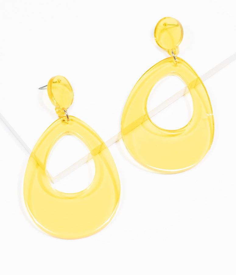 Yellow Teardrop Clear Resin Drop Earrings