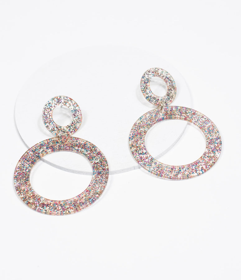 Multicolor Glitter Resin Dual Hoop Drop Earrings