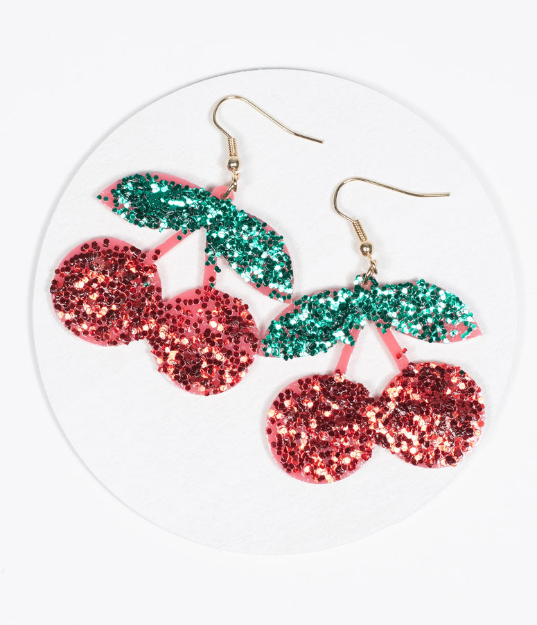 Red Cherry Glitter Drop Earrings