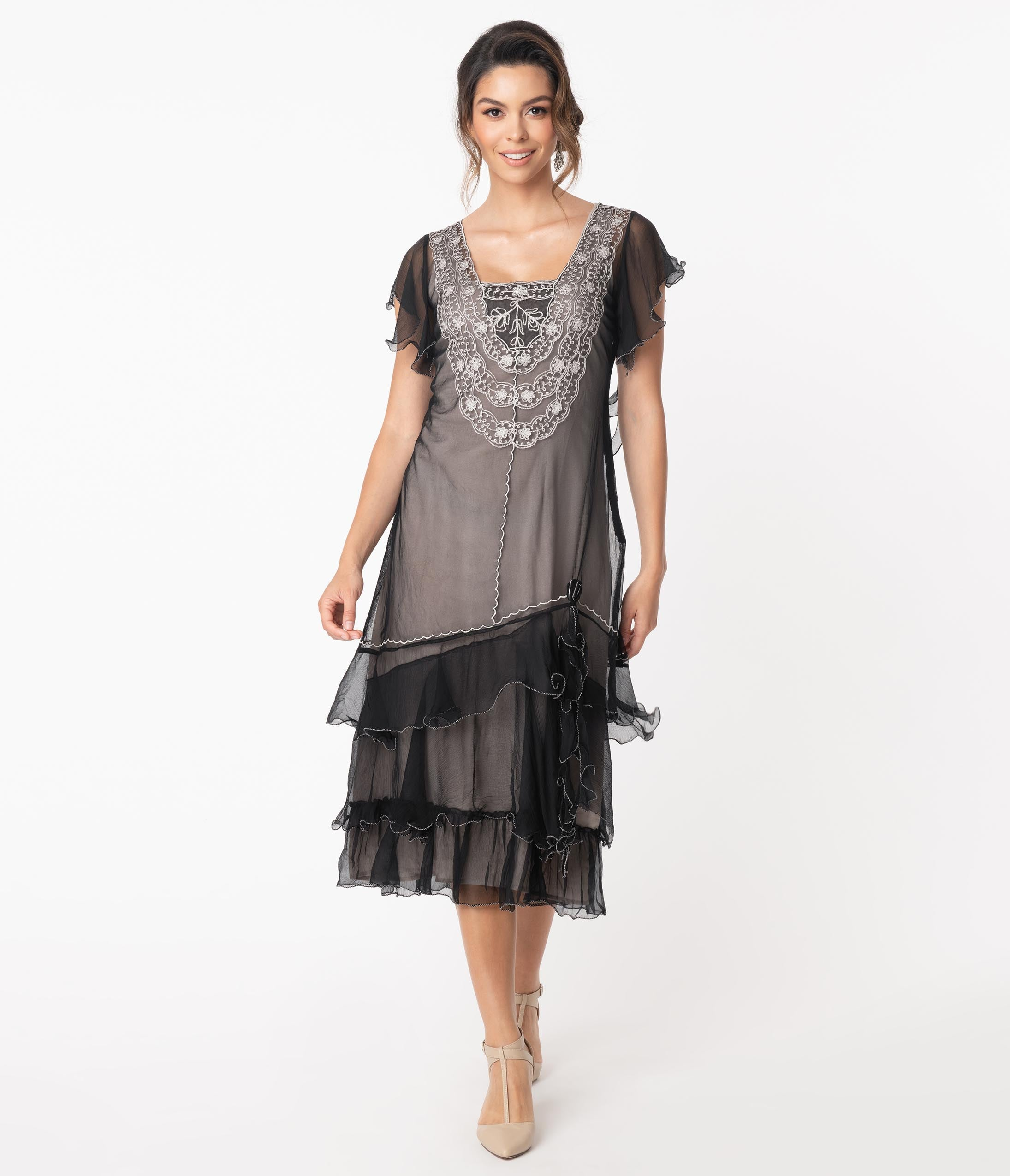 1920s Outfit Ideas: 10 Downton Abbey Inspired Costumes Vintage Style Black With Grey Alex Flapper Dress $252.00 AT vintagedancer.com