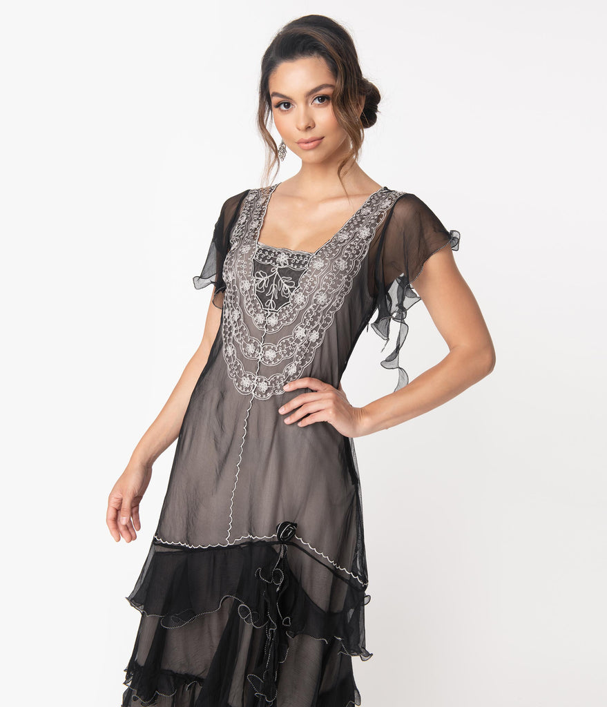 Vintage Style Black With Grey Alex Flapper Dress