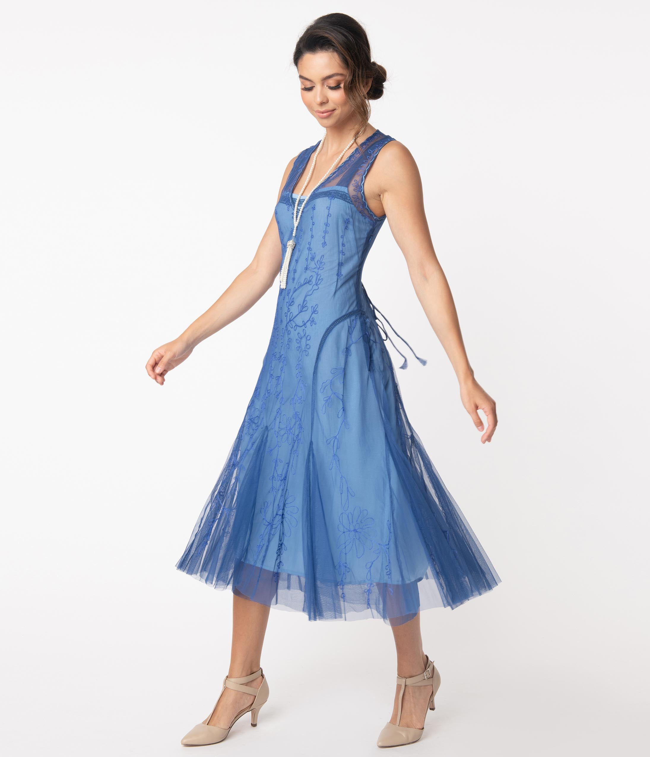 Roaring 20s Costumes- Flapper Costumes, Gangster Costumes Vintage Style Periwinkle Blue Embroidered Jackie Flapper Dress $218.00 AT vintagedancer.com