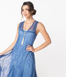 Vintage Style Periwinkle Blue Embroidered Jackie Flapper Dress