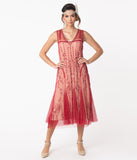 Vintage Style Cherry Red Embroidered Jackie Flapper Dress