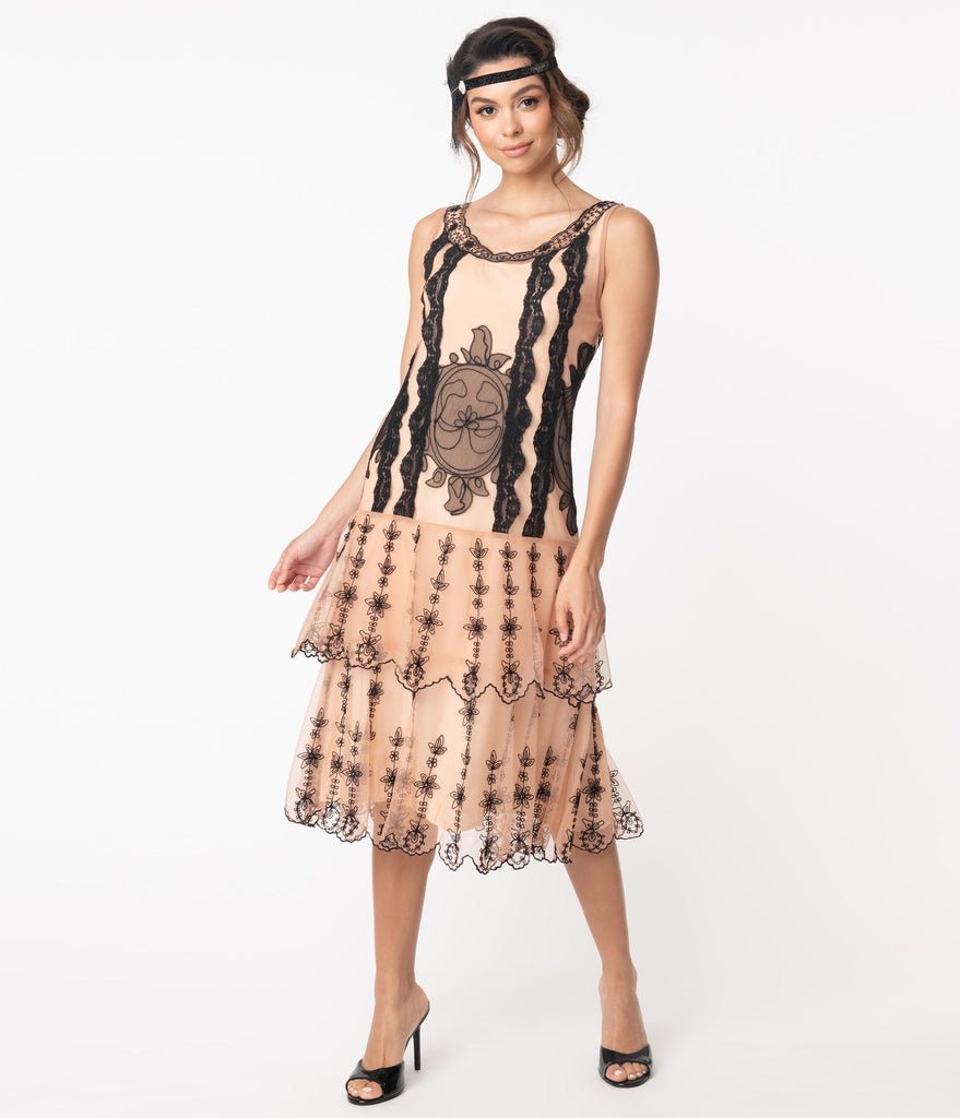 1920s Style Peach & Black Embroidery Eva Flapper Dress