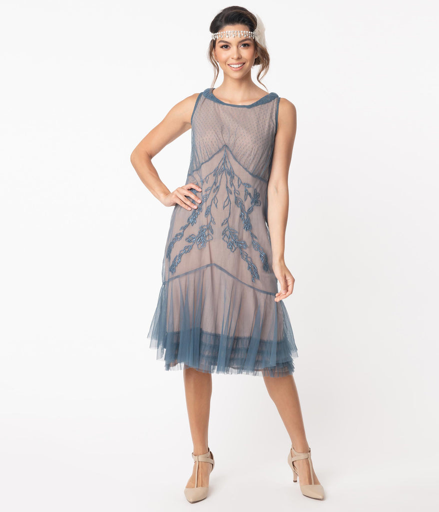 1920s Style Sapphire Embroidered Tatianna Flapper Dress