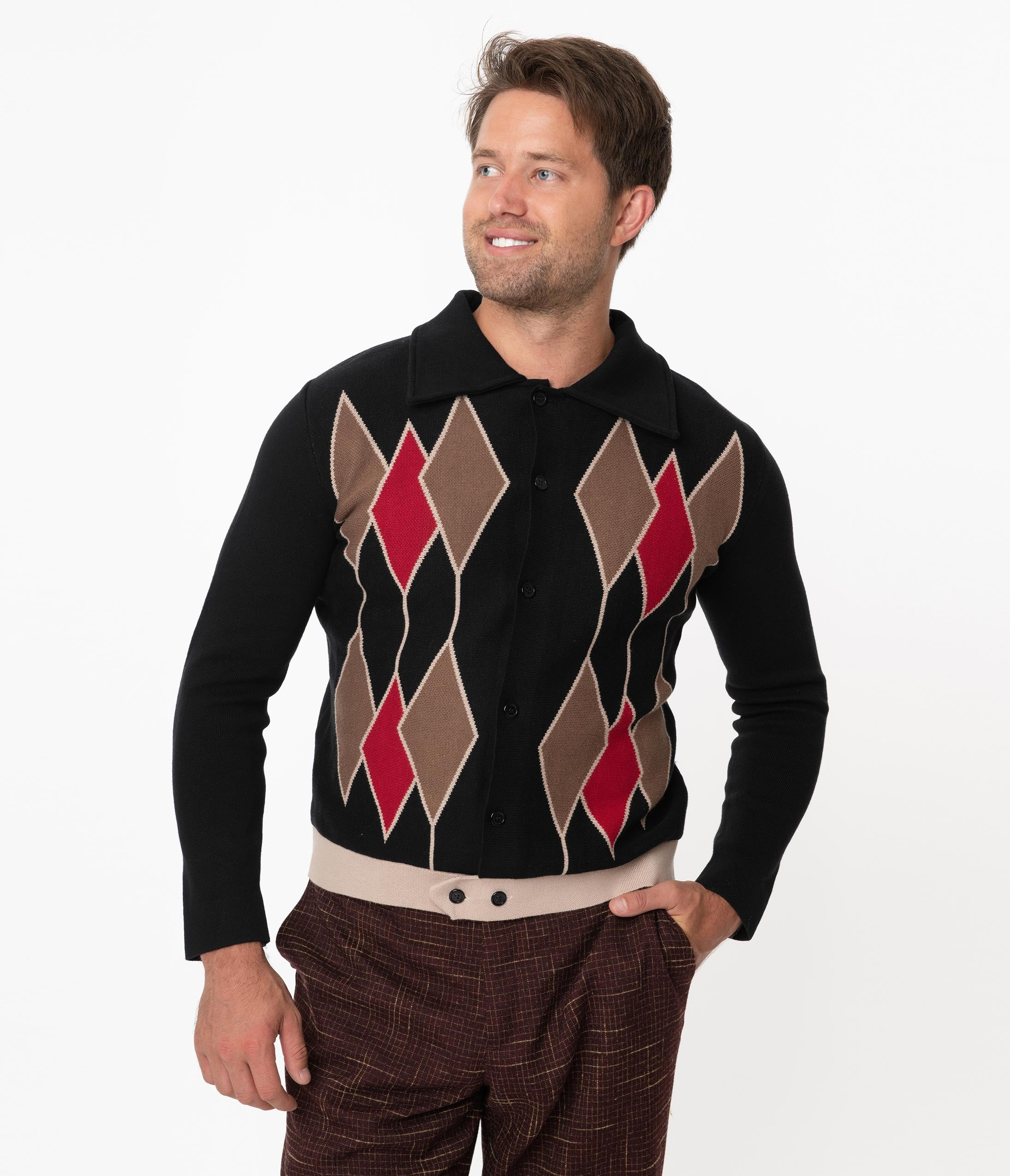 Men's Vintage Sweaters History Collectif Black Diamond Knit Luca Mens Cardigan $72.00 AT vintagedancer.com