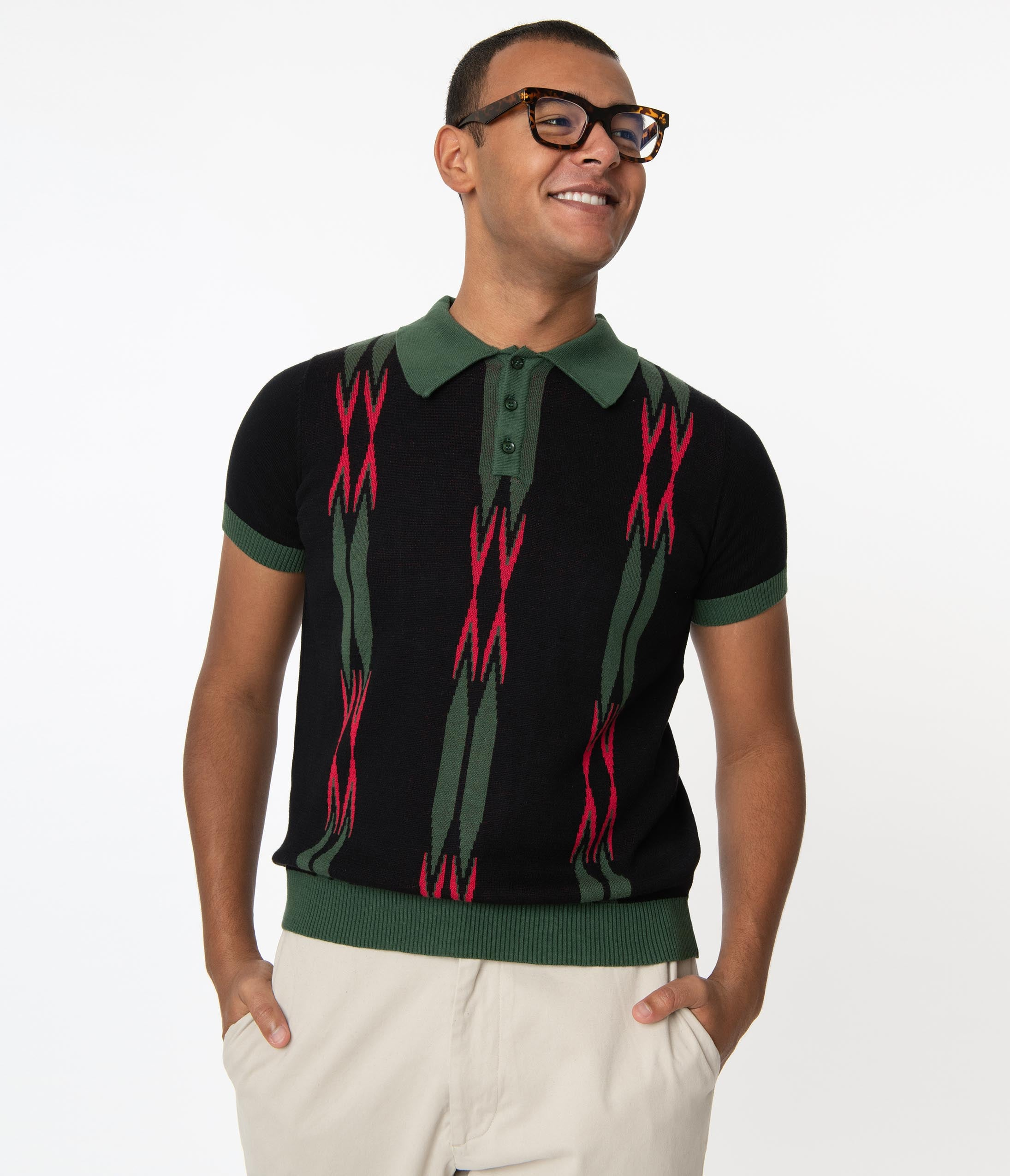 1960s Men's Clothing Collectif Black  Green Marylebone Pablo Mens Polo Shirt $66.00 AT vintagedancer.com