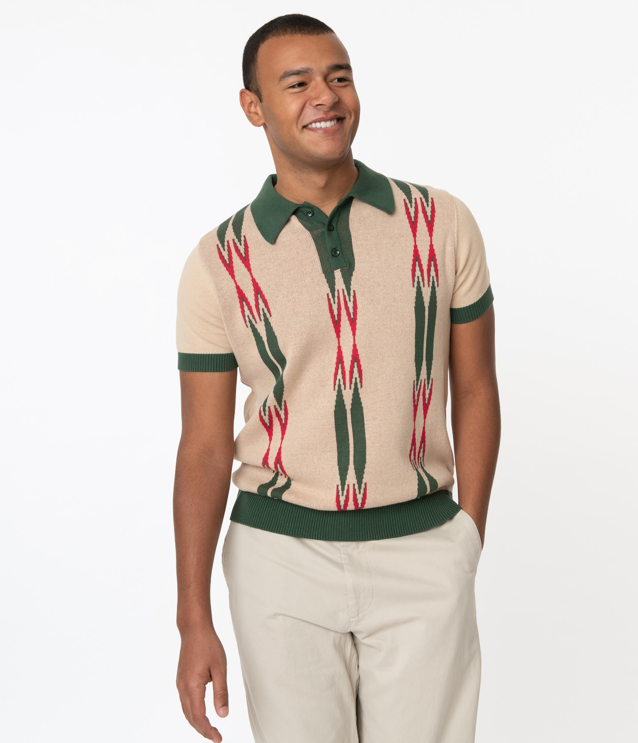 1960s Men's Clothing Collectif Beige Green Marylebone Pablo Mens Polo Shirt $66.00 AT vintagedancer.com