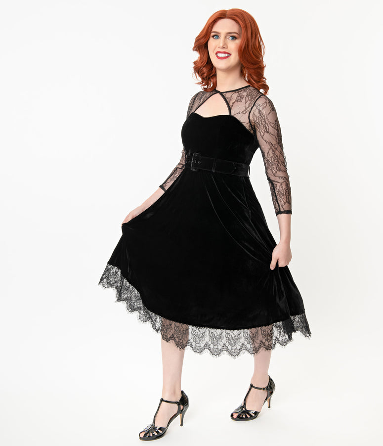 Collectif 1950s Black Velvet & Lace Alicia Swing Dress