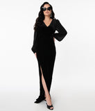 Collectif Black Velvet Arionna Fitted Gown
