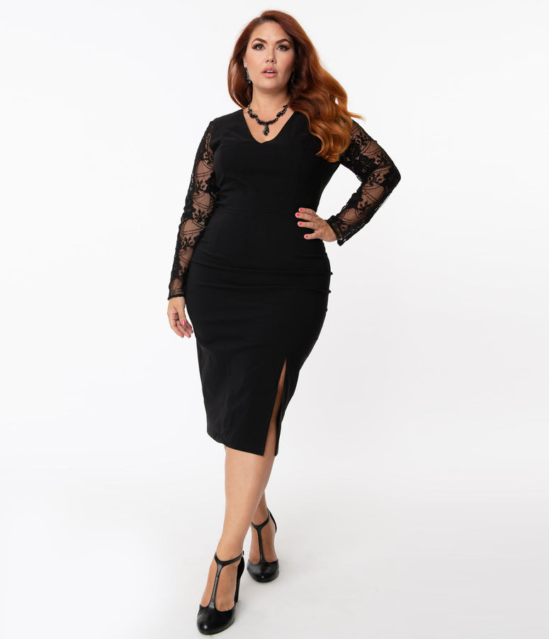 Collectif Plus Size Black Bengaline & Lace Germana Pencil Dress