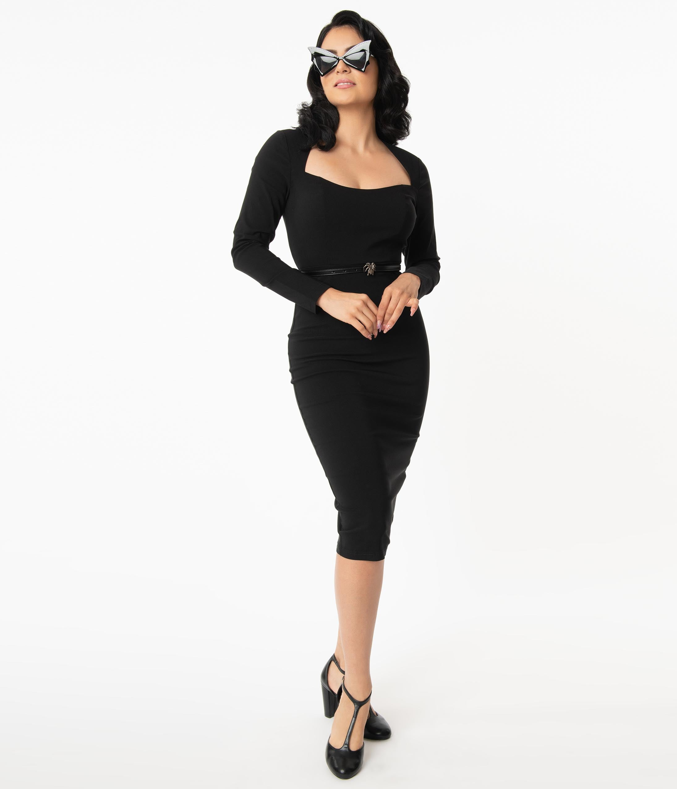 1960s Cocktail, Party, Prom, Evening Dresses Collectif Black Lura Pencil Dress $78.00 AT vintagedancer.com