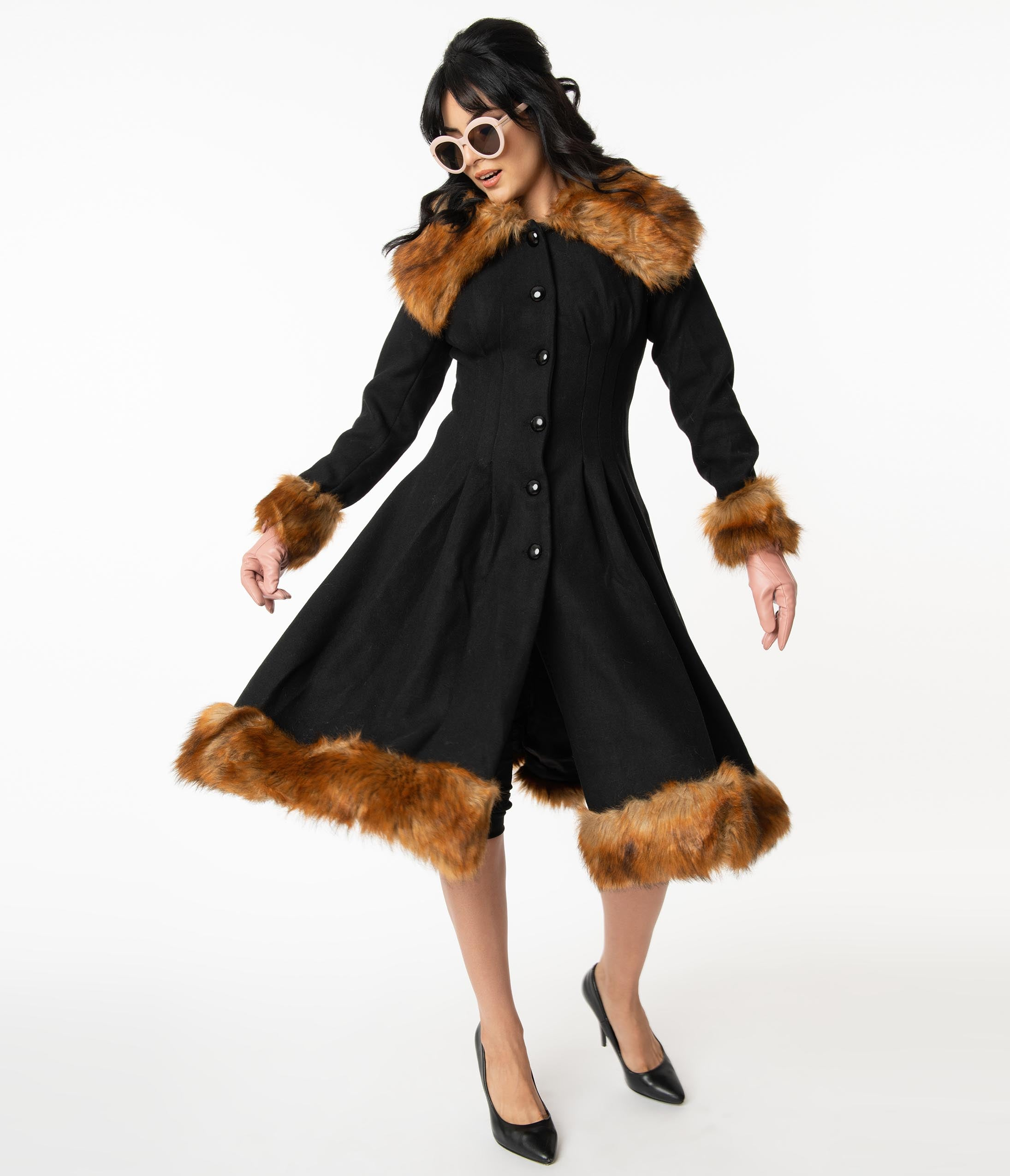 1930s Style Coats, Jackets | Art Deco Outerwear Collectif Vintage Black Wool  Fur Pearl Coat $278.00 AT vintagedancer.com