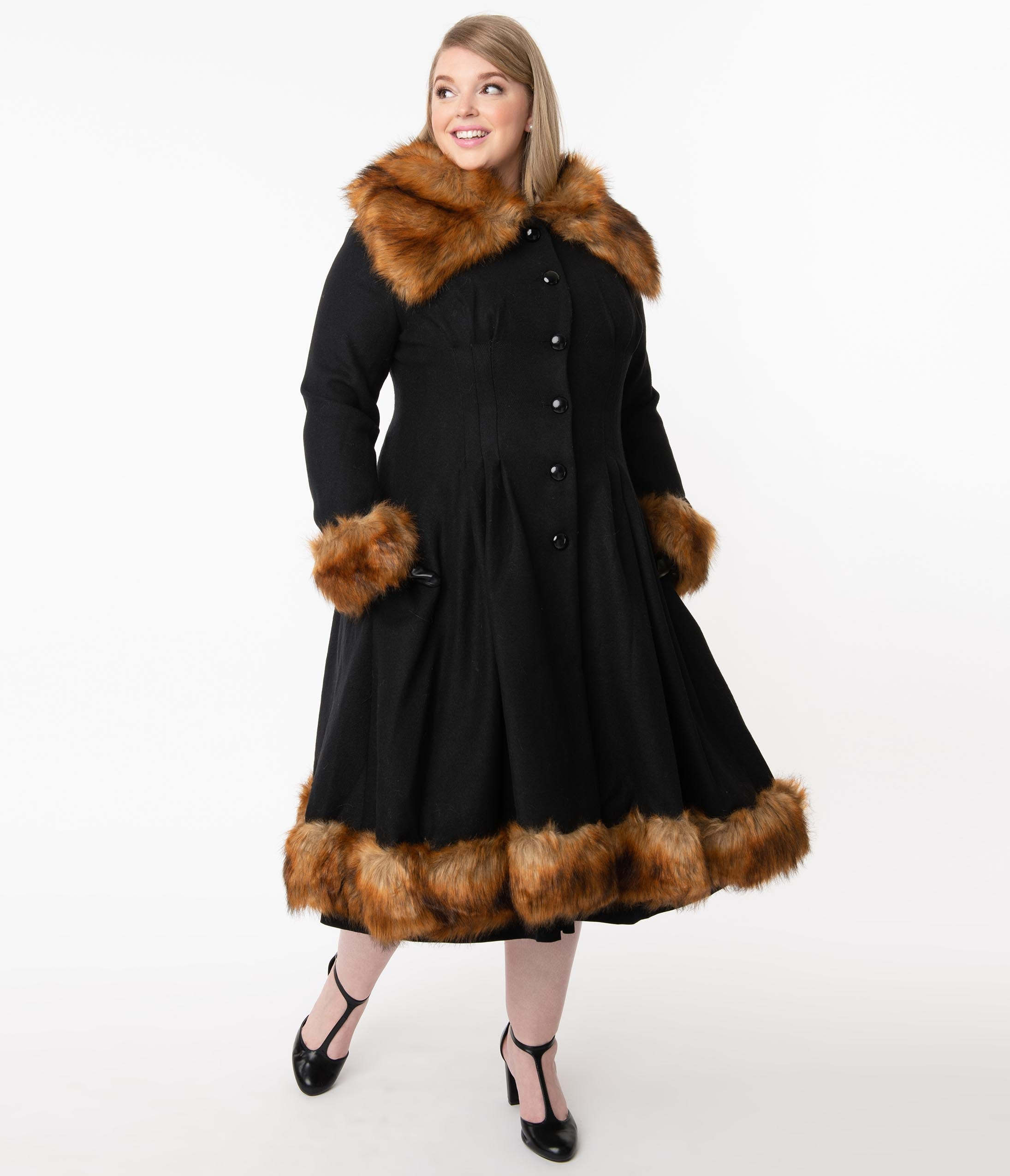 1930s Style Coats, Jackets | Art Deco Outerwear Collectif Plus Size Vintage Black Wool  Fur Pearl Coat $278.00 AT vintagedancer.com