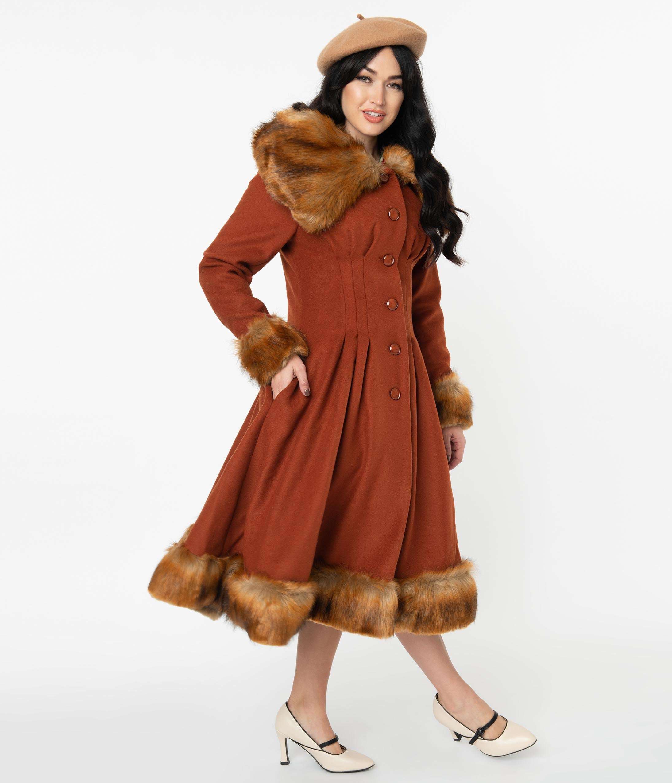 1930s Style Clothing and Fashion Collectif Vintage Rust Orange Wool  Fur Pearl Coat $278.00 AT vintagedancer.com