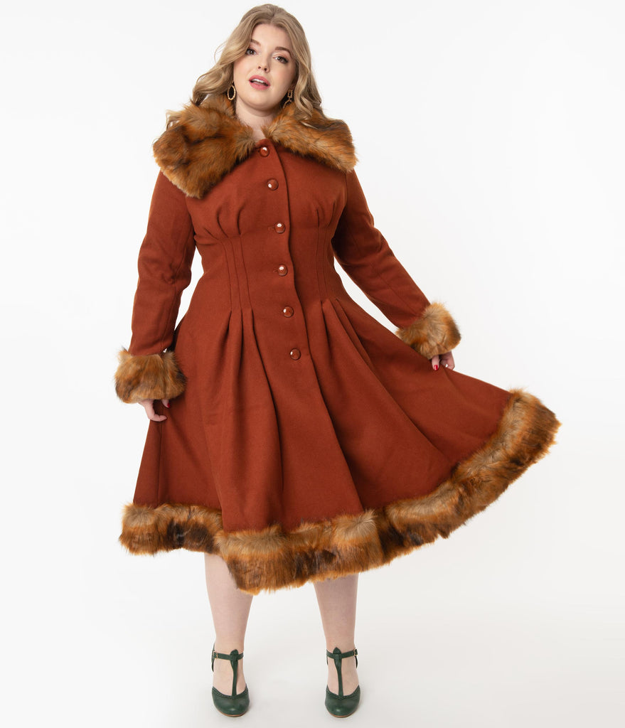 Collectif Plus Size Vintage Rust Orange Wool & Fur Pearl Coat