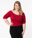 Collectif Plus Size Red Babette Sweater Top