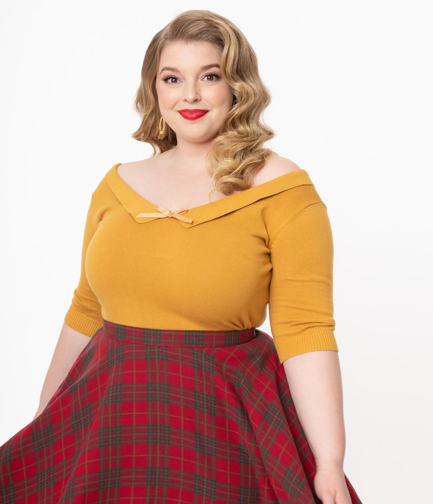 Collectif Plus Size Mustard Babette Sweater Top
