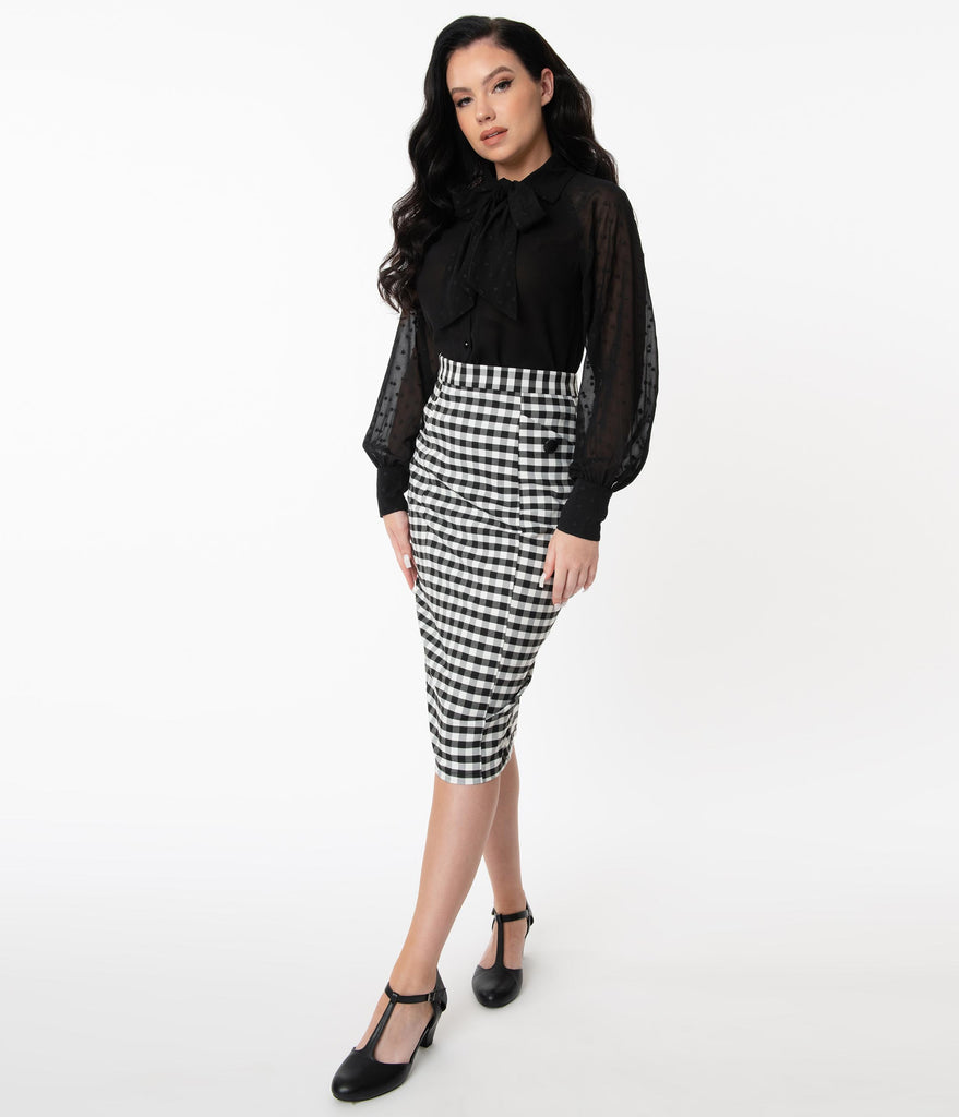 Collectif 1960s Black & White Gingham Lorinna Pencil Skirt