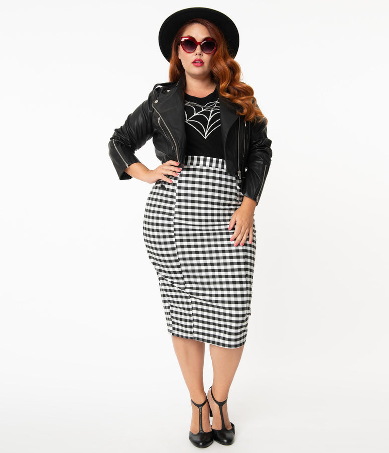 Collectif Plus Size 1960s Black & White Gingham Lorinna Pencil Skirt