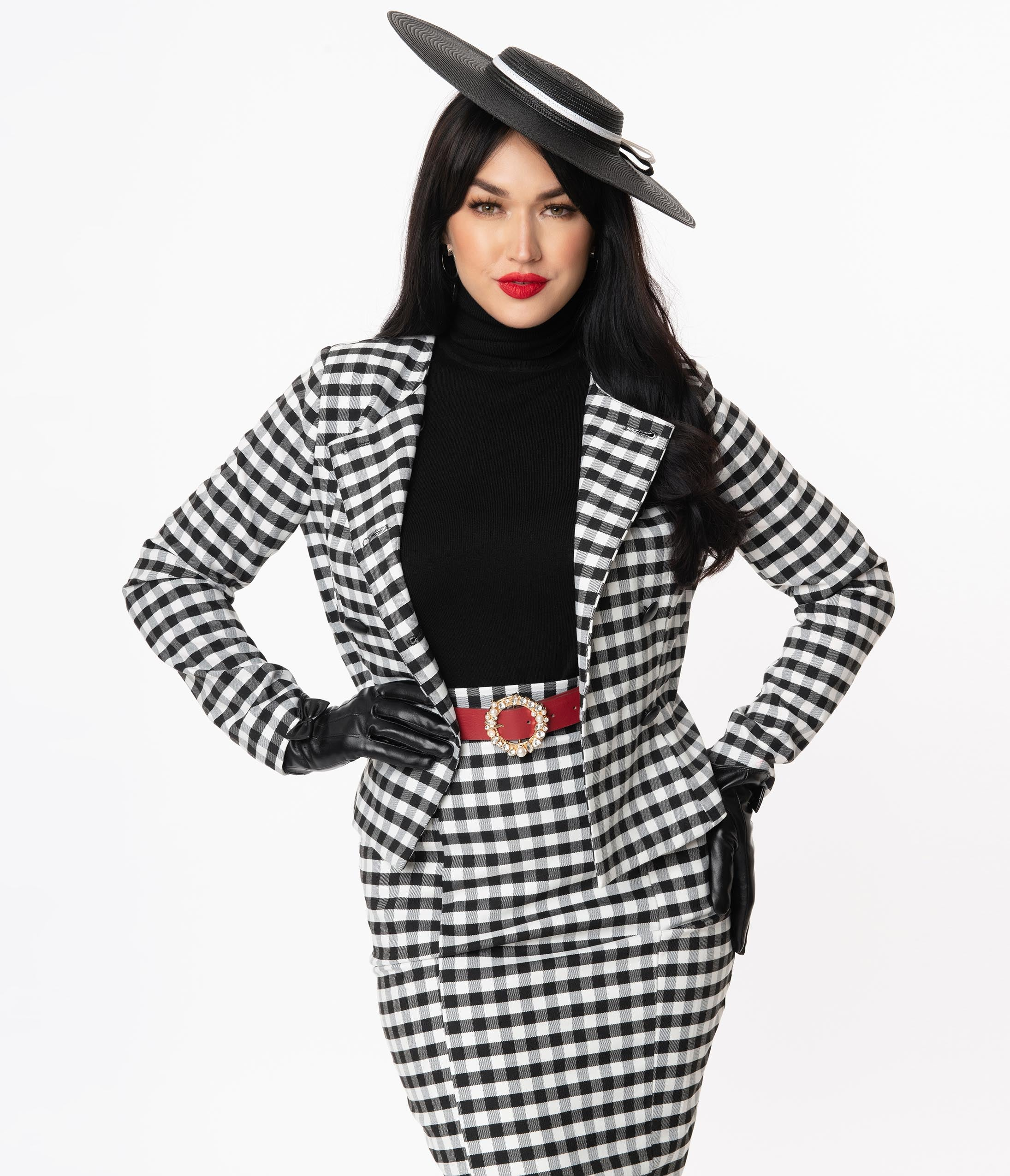 1950s Jackets, Coats, Bolero | Swing, Pin Up, Rockabilly Collectif Black  White Gingham Lorinna Jacket $88.00 AT vintagedancer.com