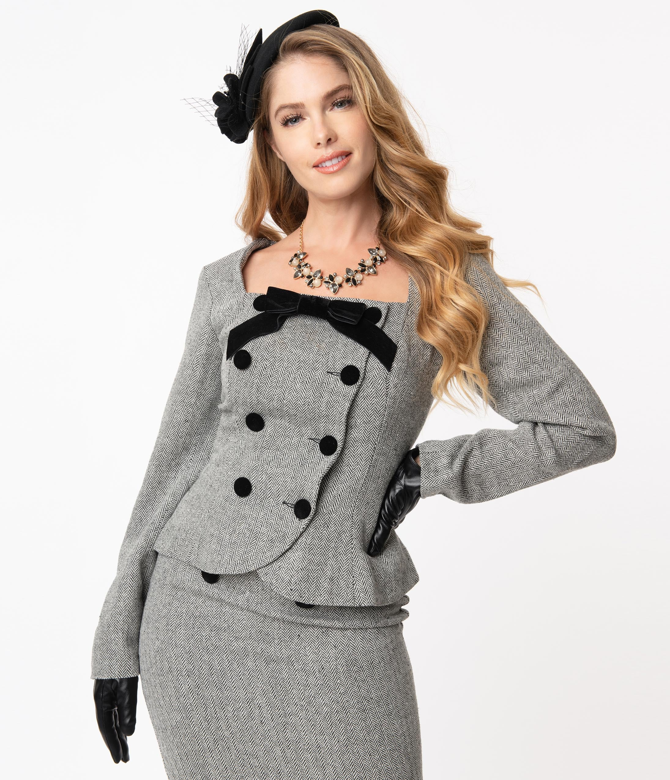 1950s Style Clothing & Fashion Collectif 1940S Grey Herringbone Agatha Suit Jacket $118.00 AT vintagedancer.com