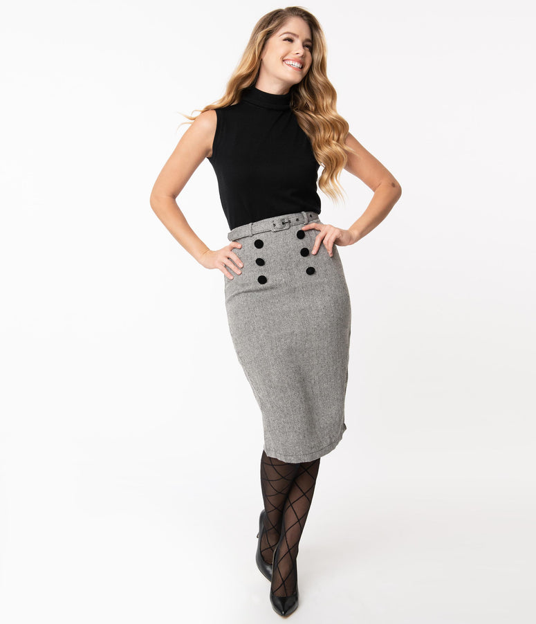 Collectif 1940s Grey Herringbone Agatha Pencil Skirt