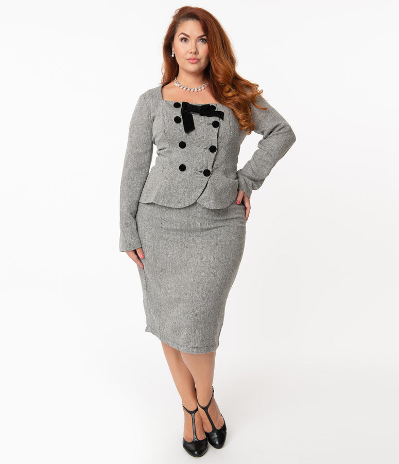 Collectif Plus Size 1940s Grey Herringbone Agatha Pencil Skirt
